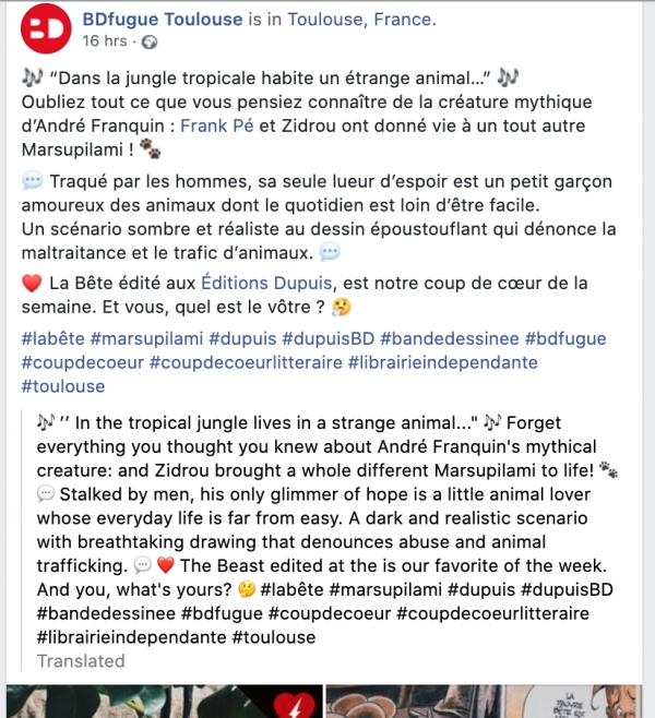 2020-11-11 : BDFugue Toulouse : Facebook post